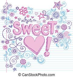 Valentine's Day Love & Hearts Sweet Heart Sketchy Notebook Doodles Design Elements on Lined Sketchbook Paper Background- Vector Illustration