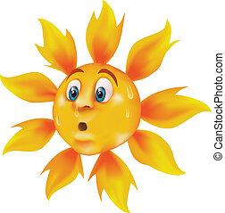 Bright, vivid cartoon sun sweating and feeling very warm.