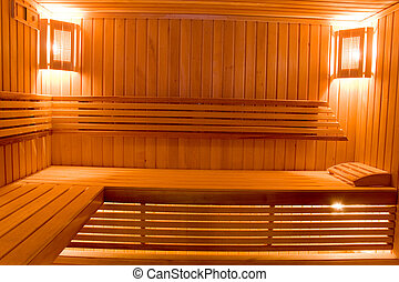 sweating room in sauna - wooden sweating room with bench