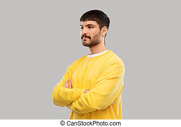 sweatshirt, człowiek, młody, krzyżowany, żółty, herb