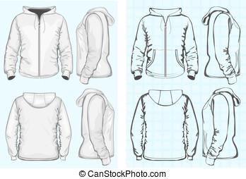 sweatshirt, hombres, cremallera, encapuchado