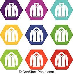 Sweatshirt icon set color hexahedron