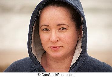 sweatshirt, mulher, hooded