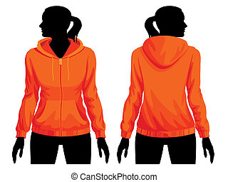 Sweatshirt template - Women body silhouette with sweatshirt...