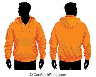 Men body silhouette with sweatshirt template, vector illustration