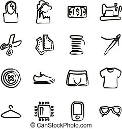 Sweatshop Factory Icons Freehand - This image is a...