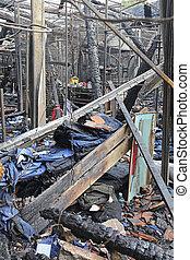 Sweatshop fire - Burned sweatshop garment factory after fire...