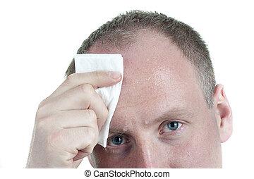 Sweaty Businessman Wiping Forehead - Sweaty, Tired...