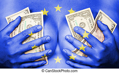 Sweaty girl covered her breast with money, flag of the EU
