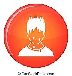 Sweaty man icon, flat style