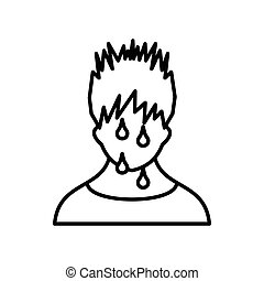 Sweaty man icon, outline style