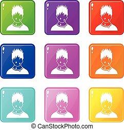 Sweaty man icons 9 set