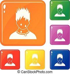Sweaty man icons set vector color