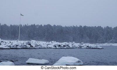 swedeb baltic sea costline in winter