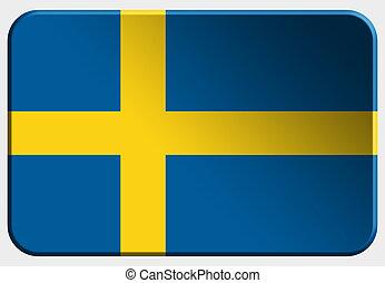 Sweden 3D button on white background