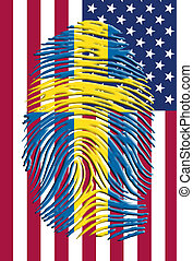 Sweden American - Swedish fingerprint mark over USA flag