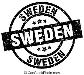 Sweden black round grunge stamp