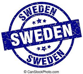 Sweden blue round grunge stamp