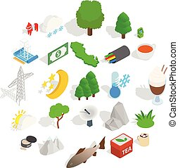 Sweden business icons set, isometric style - Sweden business...
