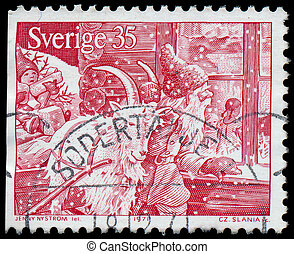 SWEDEN - CIRCA 1971: a stamp printed by SWEDEN shows Santa Claus and Christmas Goat. Engraving after drawing Jenny Eugenia Nystrom, circa 1971.