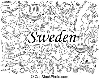 Sweden coloring book vector illustration - Vector line art ...