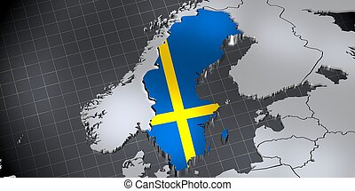 Sweden - country borders and flag - 3D illustration