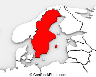 An abstract 3d illustrated map of the country of Sweden in the northern region of the continent of Europe surrounded by the nations Denmark, Finland and Norway