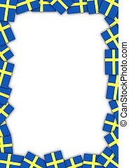 Illustration of a frame made of Swedish flags