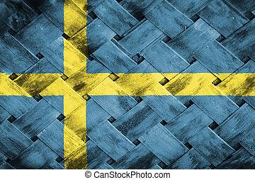 Sweden flag ,  flag on Weave Bamboo