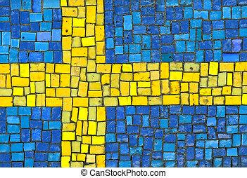 Sweden Flag in Mosaic