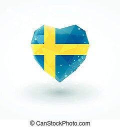 Sweden flag in shape diamond glass heart. Triangulation style