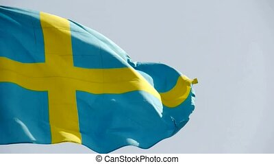 Sweden flag is fluttering in wind.