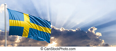 Sweden flag on blue sky. 3d illustration