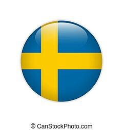 Sweden flag on button