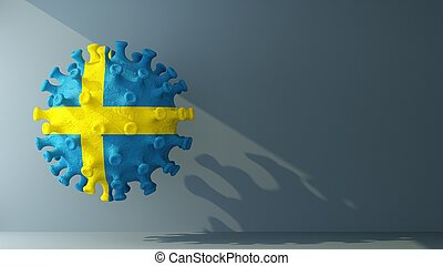 Sweden flag on covid-19 virus with copy space