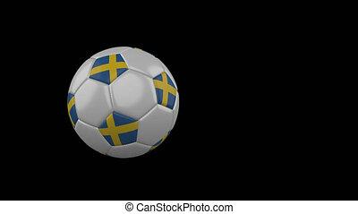 Sweden flag on flying soccer ball on transparent background, alpha channel