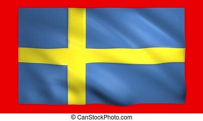 Sweden flag on green screen for chroma key