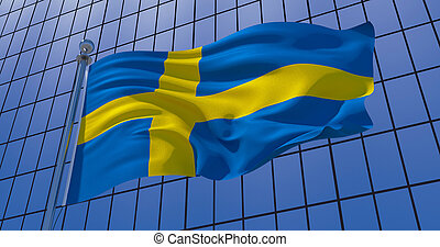 Sweden flag on skyscraper building background. 3d illustration