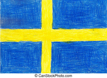 Sweden flag, pencil drawing illustration kid style photo image