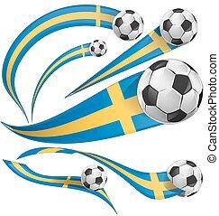 sweden flag set with soccer ball