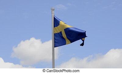 Sweden flag, Blue sky