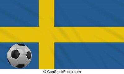 Sweden flag waving and football rotates, loop - Sweden flag...