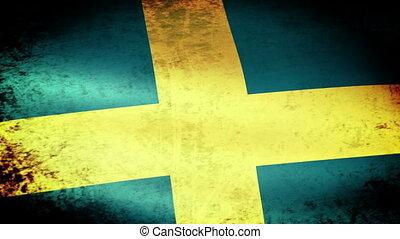 Sweden Flag Waving, grunge look