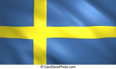 Sweden flag waving in the wind