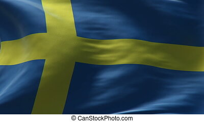 sweden flag waving loop high resolution texture in HD