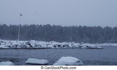 sweden flag, winter baltic sea