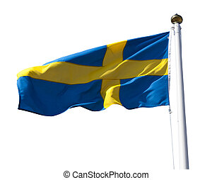 Sweden flag with flagpole - Sweden flag flying in the wind...