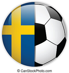 Sweden Flag with Soccer Ball Background