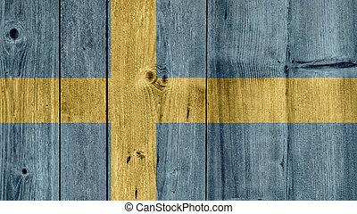 Sweden Flag Wooden Fence