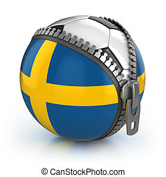 Sweden football nation - football in the unzipped bag with Swedish flag print
